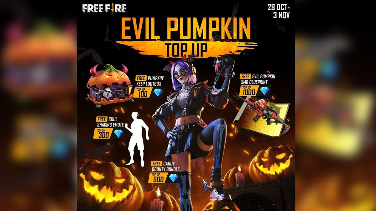 Free Fire Evil Pumpkin Top Up event featuring loot box, emote, &more